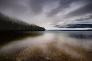 Whitefish, Montana, Whitefish Lake, misty, mountain, morning