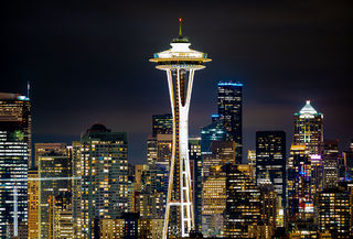 Seattle, Washington, Space Needle, city lights, night