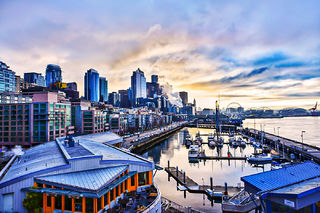 pier 6, Seattle, Washington, sunrise, morning,