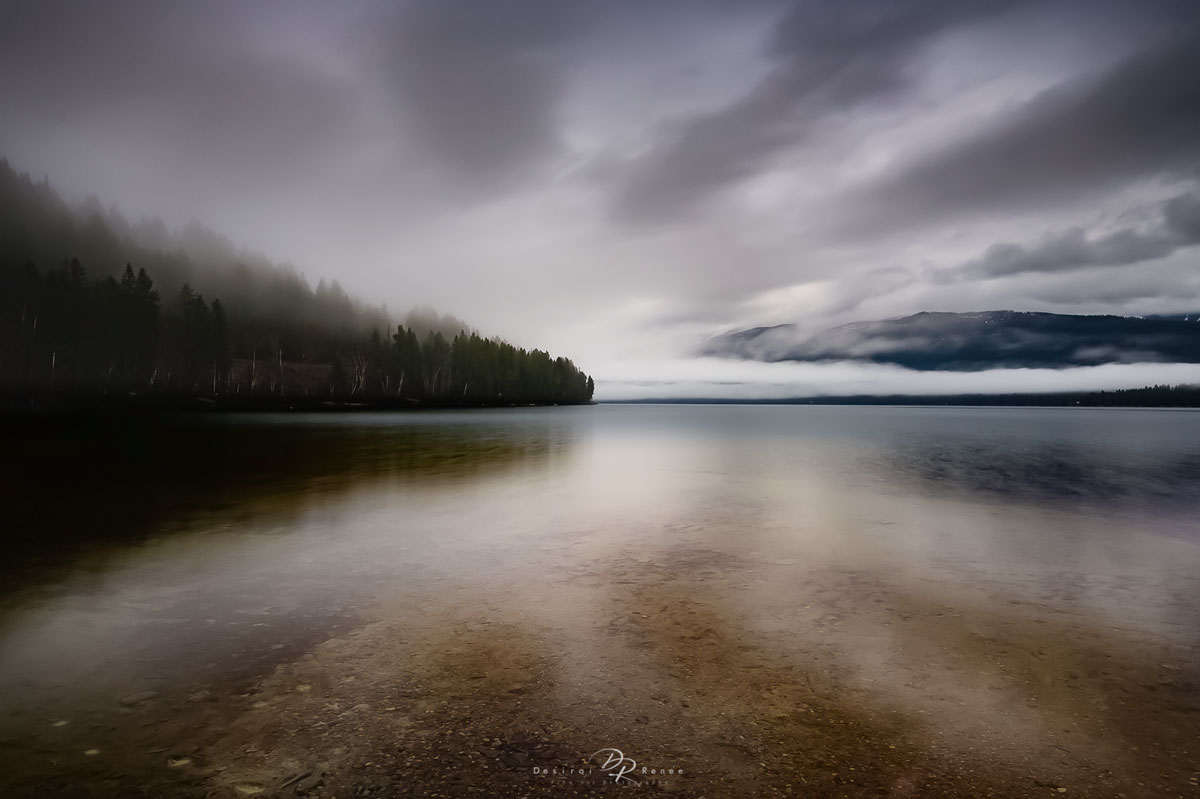 Whitefish, Montana, Whitefish Lake, misty, mountain, morning, photo