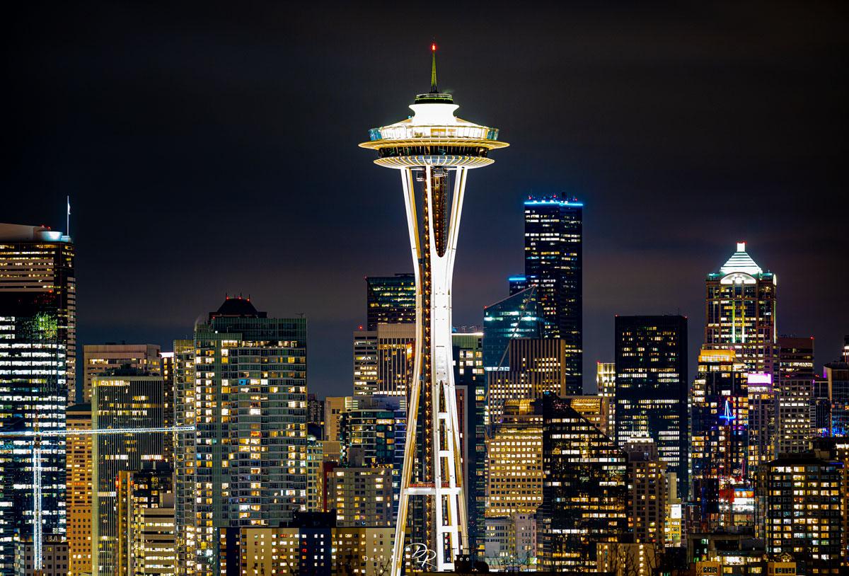 Seattle, Washington, Space Needle, city lights, night , photo