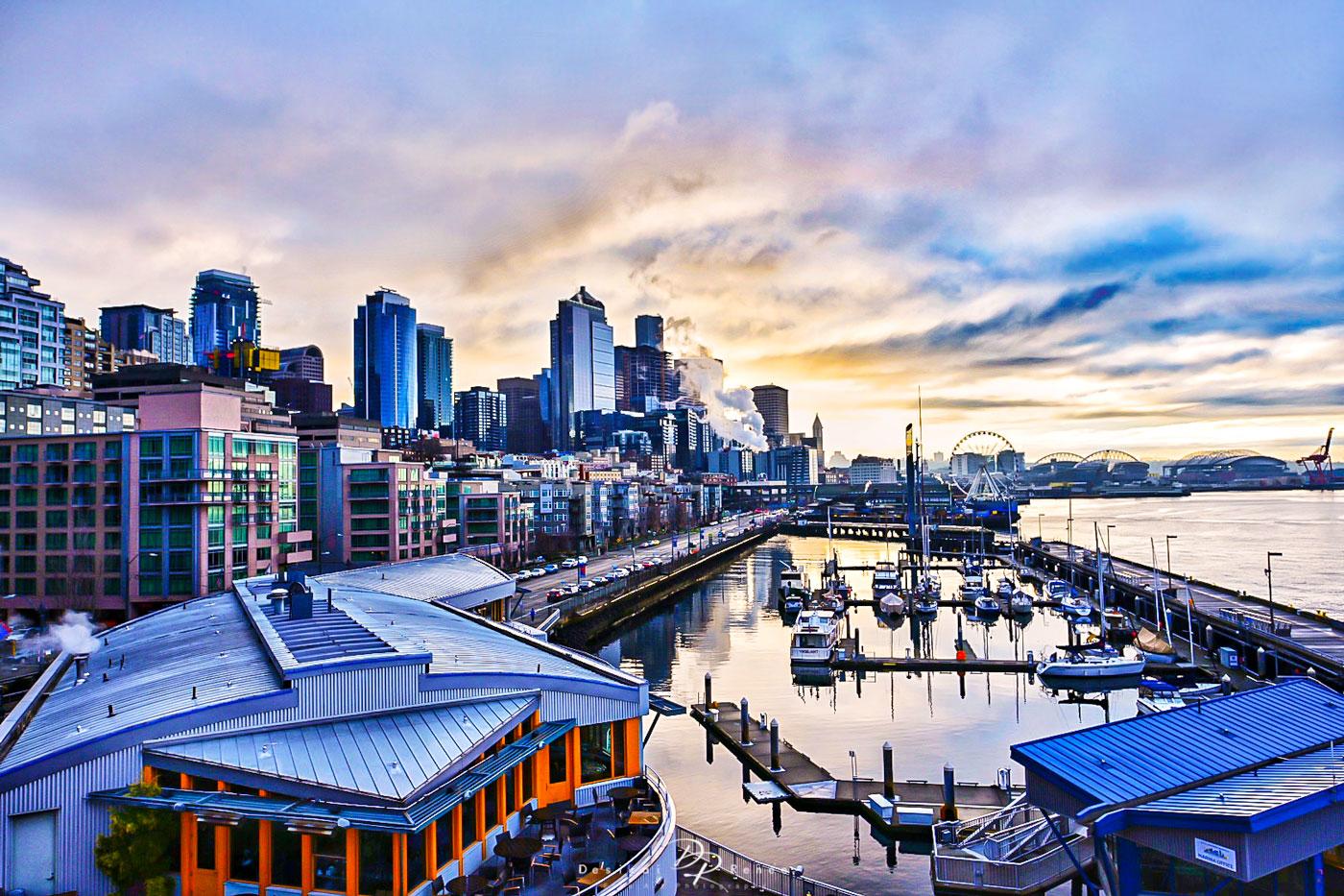 pier 6, Seattle, Washington, sunrise, morning,, photo